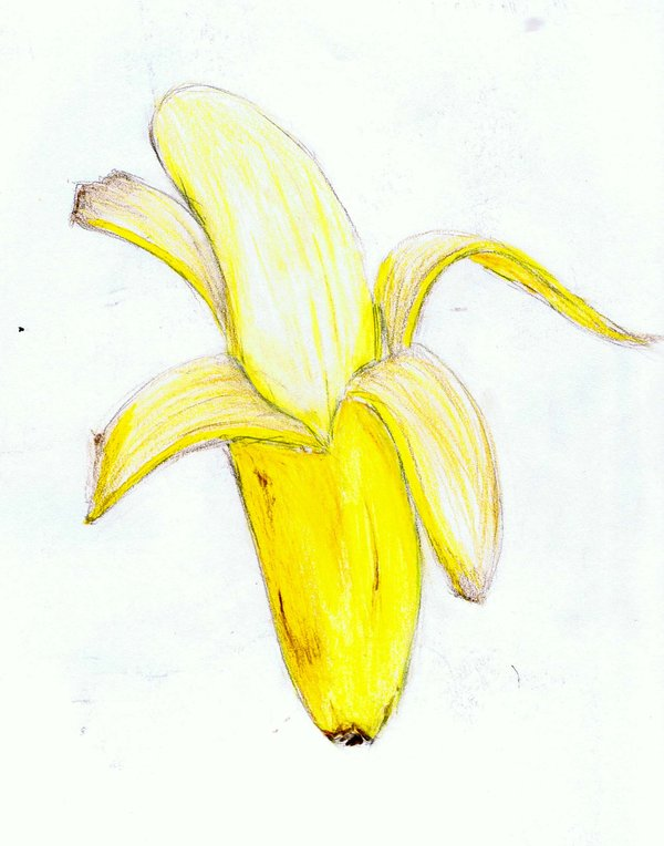 Half Peeled Banana Drawing